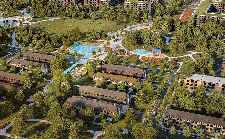 Image du parc et maisons en rangée